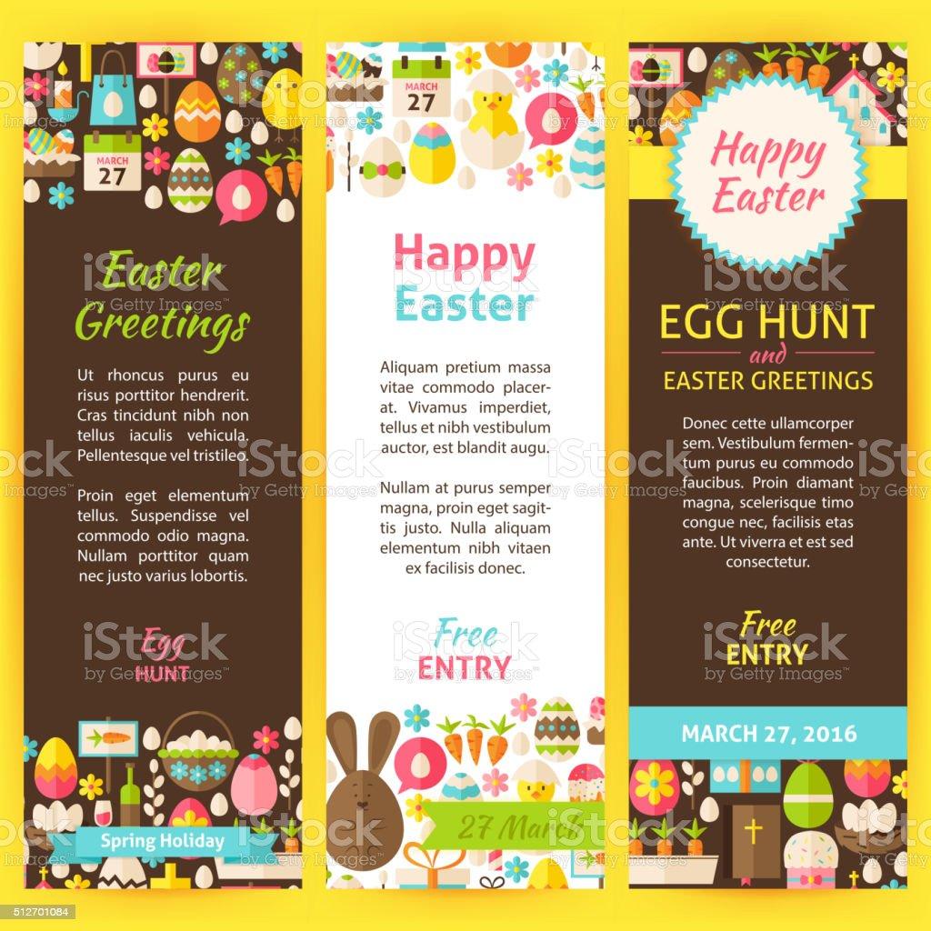 Happy Easter Vector Party Invitation Flyer Set vector art illustration