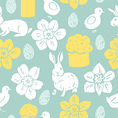 Happy Easter . Vector pattern with bunny and  flowers