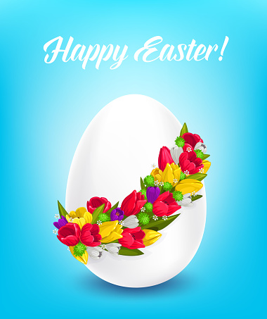Happy Easter vector poster, egg with flower wreath