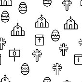 Happy Easter Vector Seamless Pattern Thin Line Illustration