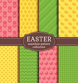 Happy Easter! Set of cute holiday backgrounds. Collection of seamless patterns in yellow, green and pink colors. Vector illustration.
