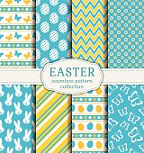 Happy Easter! Set of cute holiday backgrounds. Collection of seamless patterns in white, blue and yellow colors. Vector illustration.