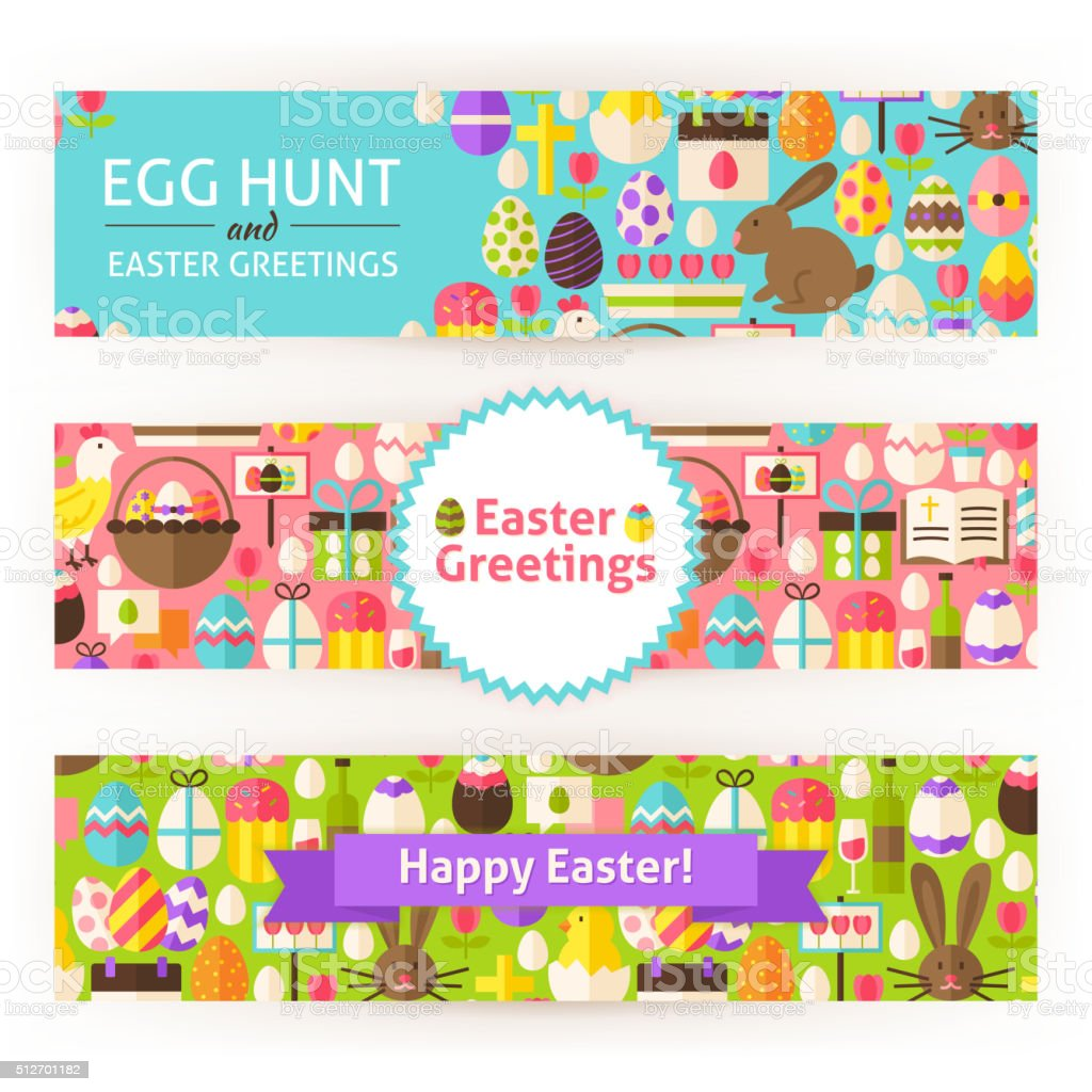 Happy Easter Vector Template Banners Set Modern Flat vector art illustration