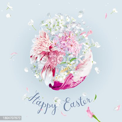 istock Happy Easter - vector template with Easter floral egg. 1304707572