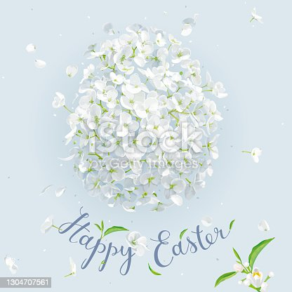 istock Happy Easter - vector template with Easter white floral egg. 1304707561