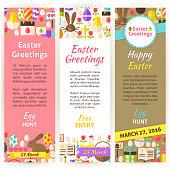 Happy Easter Vector Vertical Flyer Set