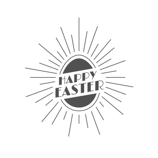 Happy Easter Vintage Festive Label vector art illustration