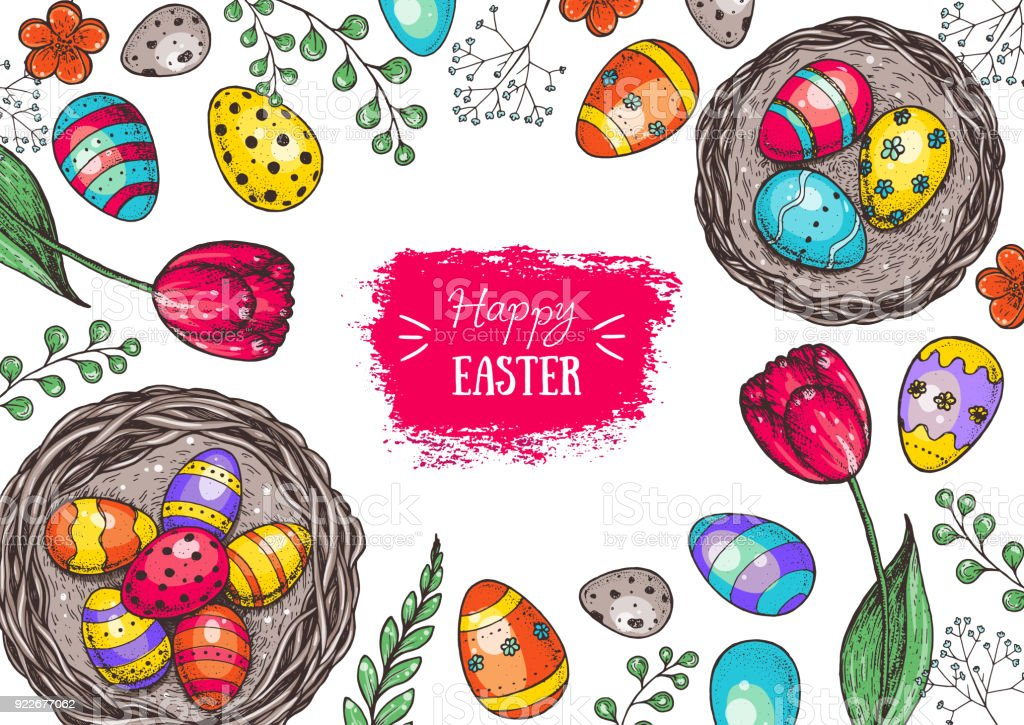 Happy Easter Vintage Frame Hand Drawn Template For Design Easter ...