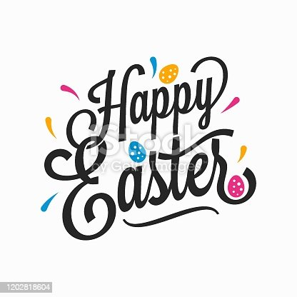 Happy Easter vintage sign with eggs on white background 8 eps