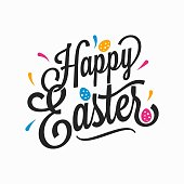 istock Happy Easter vintage sign with eggs on white background 1202818604
