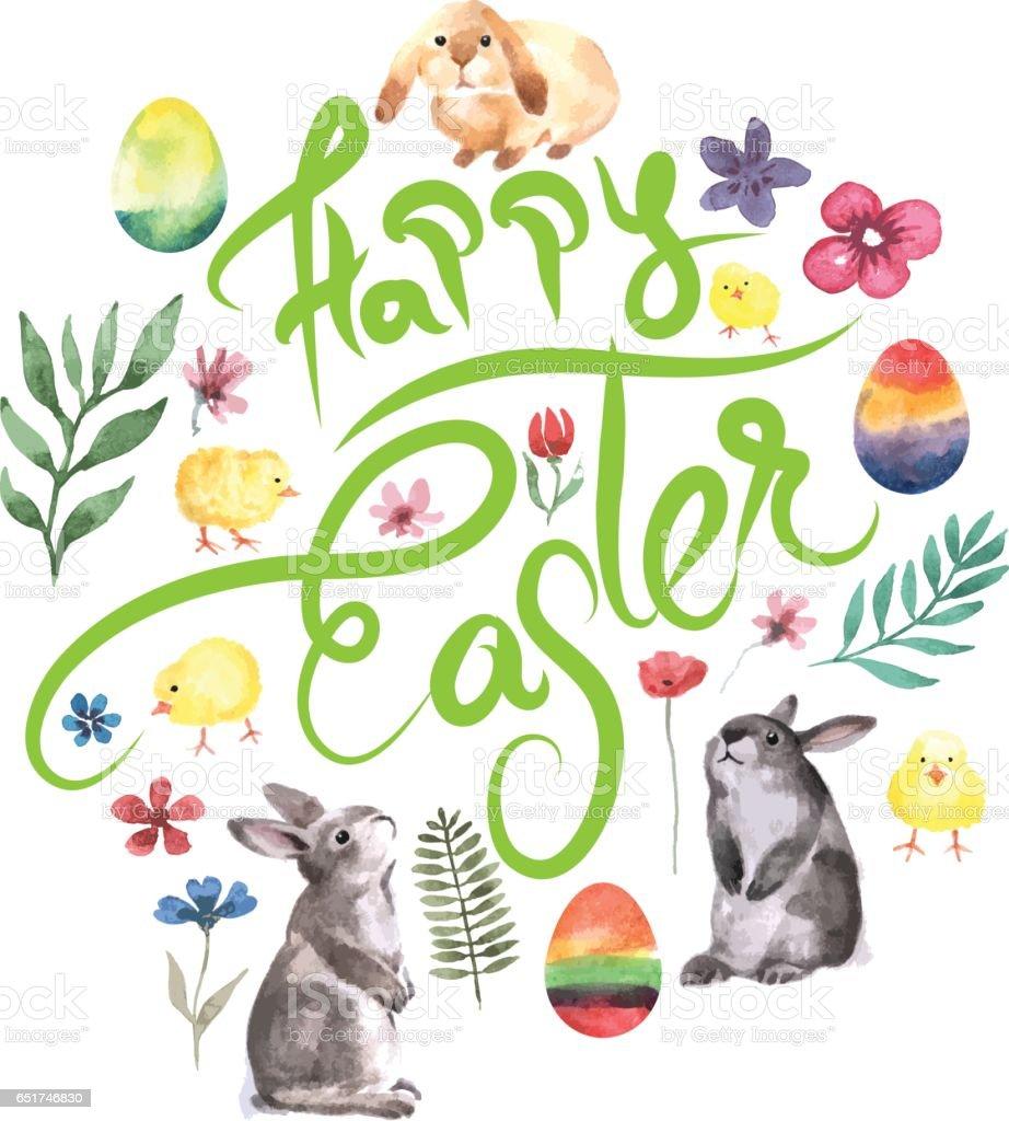 Happy Easter watercolor design vector art illustration