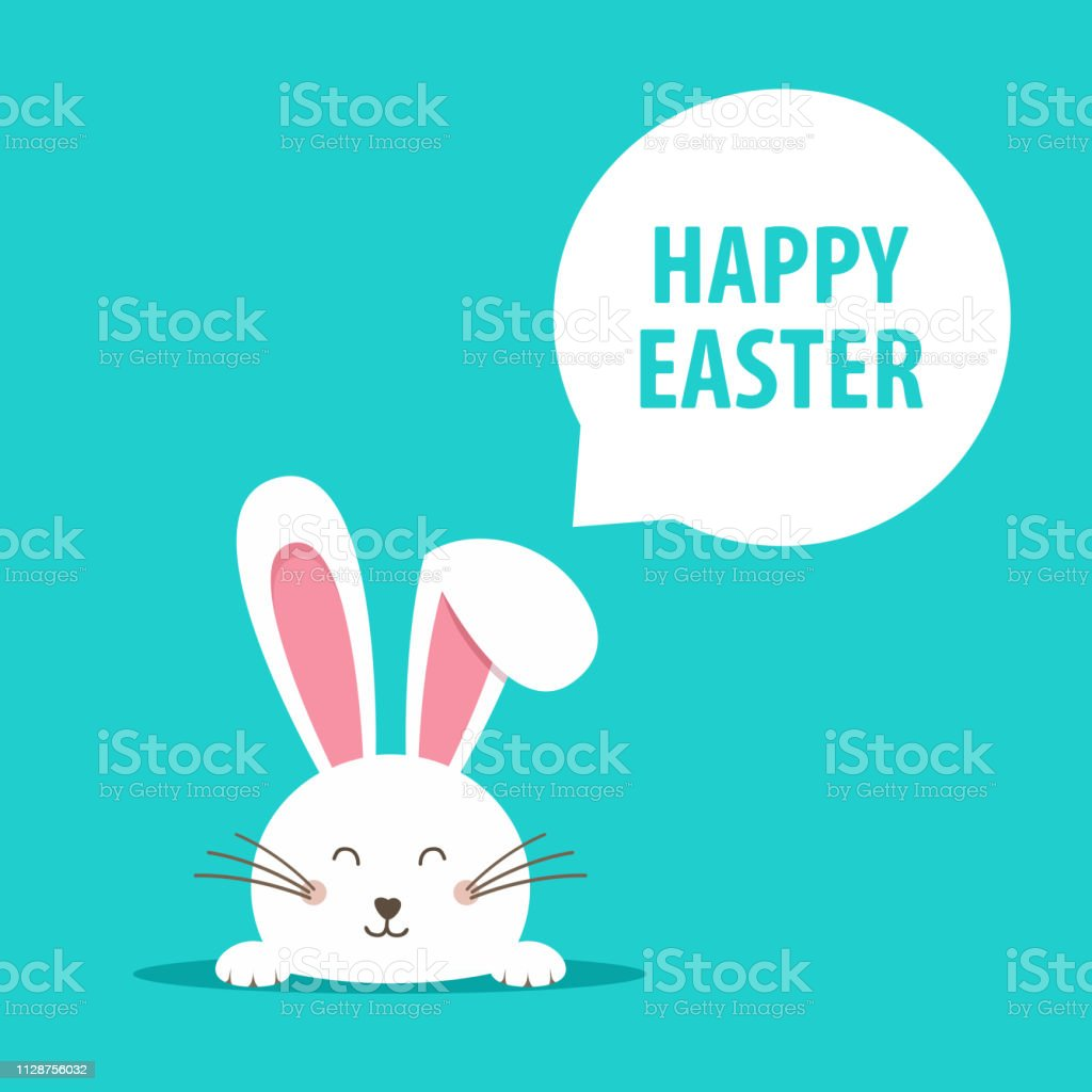 Happy Easter web banner. Greeting card with rabbit. Bunny ears. Vector illustration.