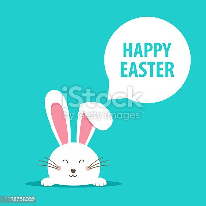 Happy Easter web banner. Greeting card with rabbit. Bunny ears. Vector illustration