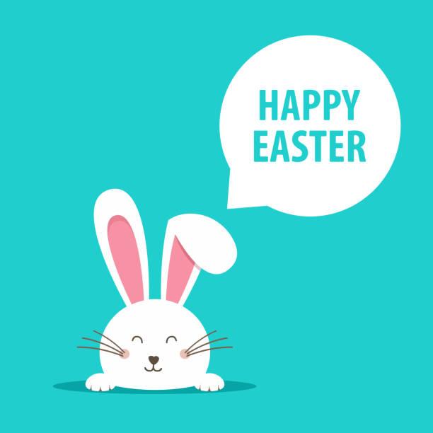 happy easter-web-banner. grußkarte mit kaninchen. hasenohren. vektor-illustration. - hase stock-grafiken, -clipart, -cartoons und -symbole