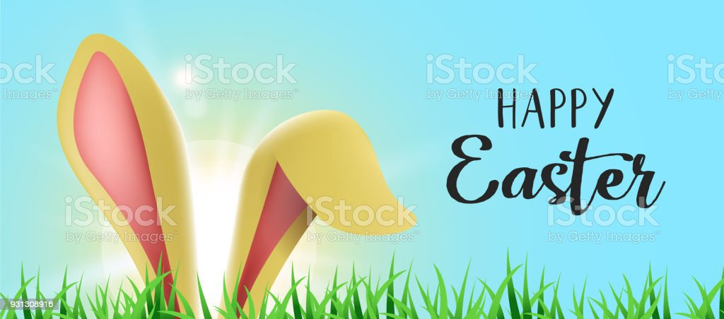 Happy Easter web banner with funny bunny ears