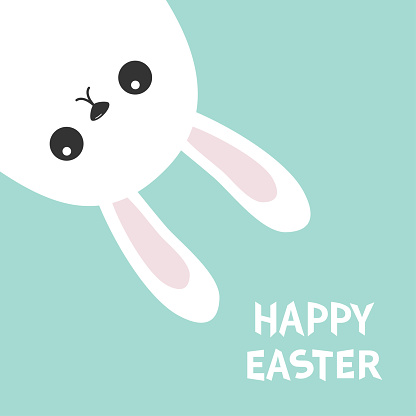 Happy Easter. White bunny hanging upside down. Rabbit looking from the corner. Picaboo. Flat design. Funny head face. Cute kawaii cartoon character. Baby greeting card Blue pastel background