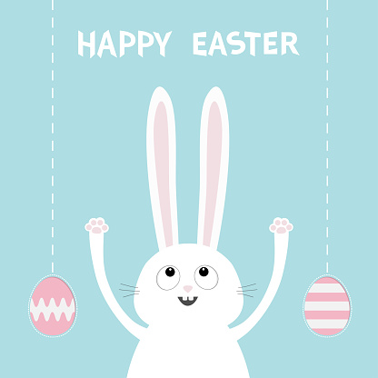 Happy Easter. White bunny rabbit head face looking up. Hand with paw print. Painting egg shell hanging. Flat design. Cute funny cartoon character. Baby greeting card. Blue pastel color background.