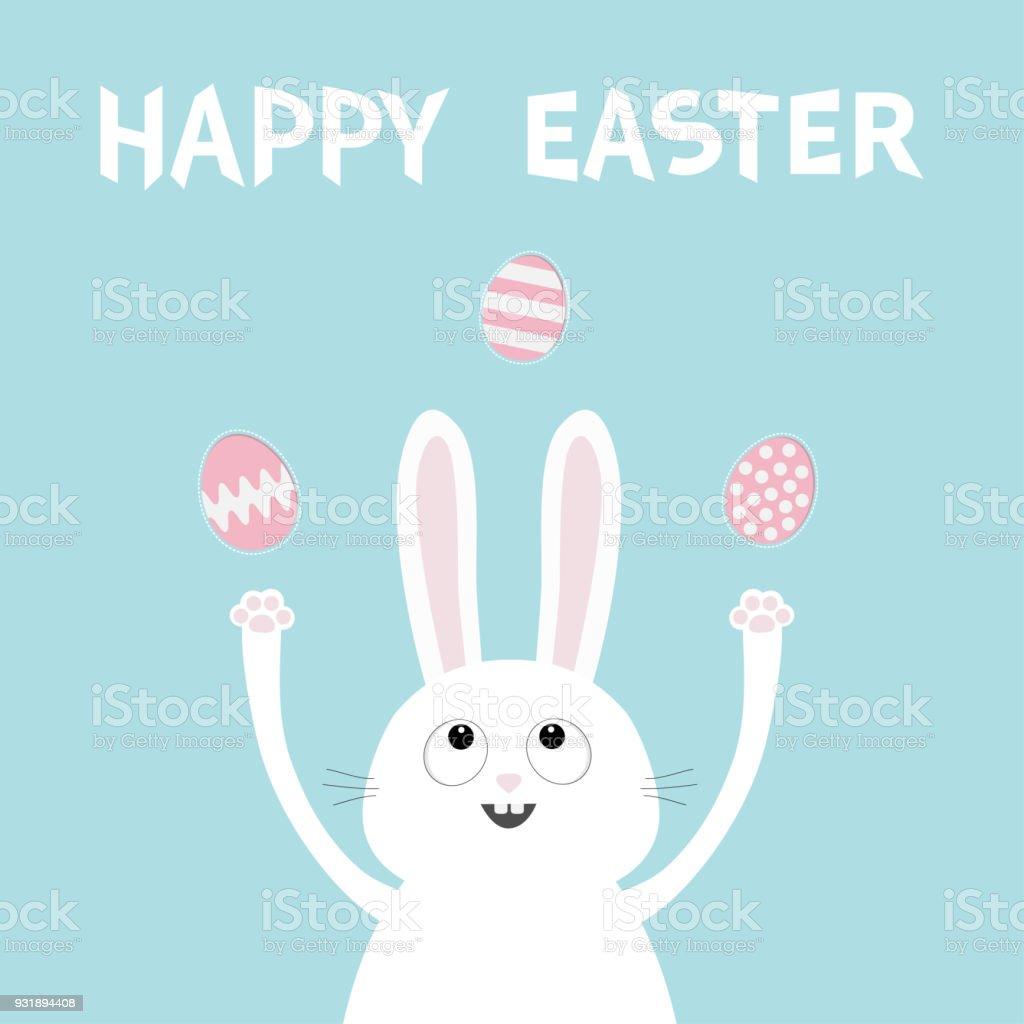 Mutlu Paskalyalar Beyaz Tavşan Tavşan Baş Yüz Kadar Yumurta Boyama