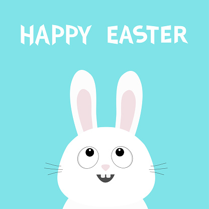 Happy Easter. White bunny rabbit head face looking up. Picaboo. Flat design. Big ears. Cute kawaii funny cartoon character. Baby greeting card. Blue pastel color background.
