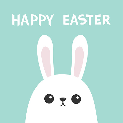 Happy Easter. White bunny rabbit head face. Picaboo. Flat design. Big ears. Cute kawaii funny cartoon character. Baby greeting card. Blue pastel color background.