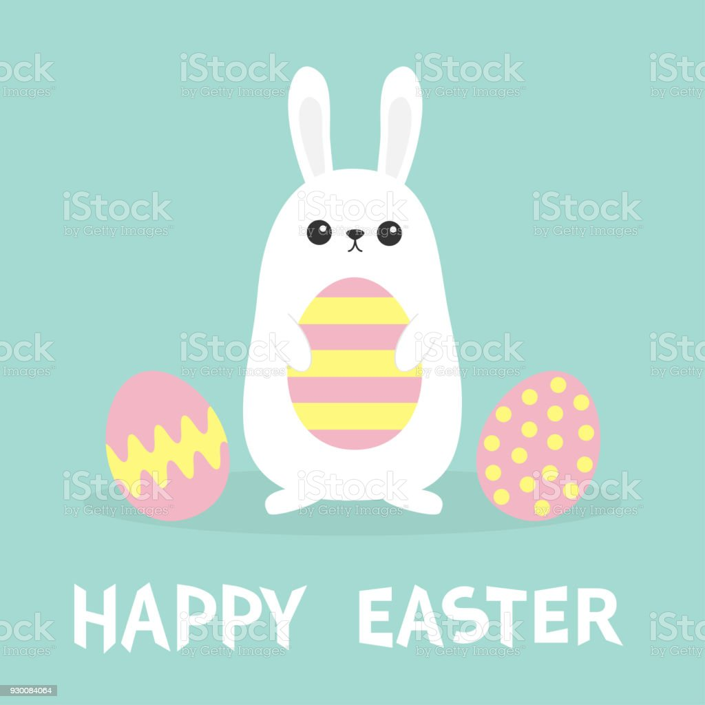 Happy Easter White Bunny Rabbit Painted Pattern Egg Set Flat Design ...