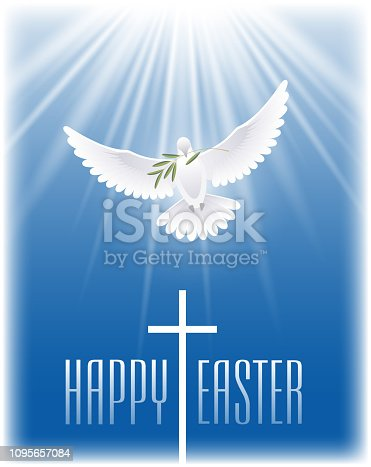 istock Happy Easter. White flying dove with olive branch and cross. 1095657084