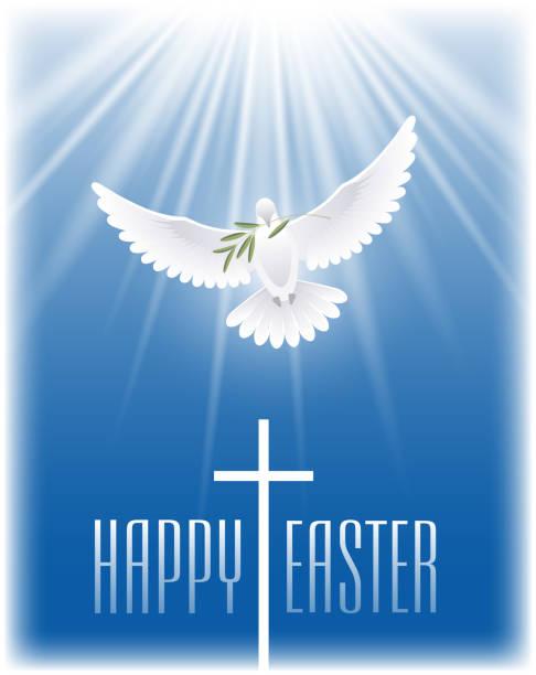 復活節快樂。白色飛行鴿子與橄欖枝和十字架。 - 宗教 幅插畫檔、美工圖案、卡通及圖標
