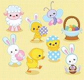 Illustration with cute chicken, bunny, duck, lamb cartoon characters. Vector illustration.