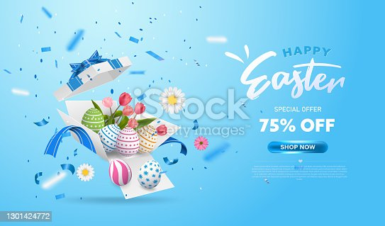istock Happy Easter with surprise white gift box with colorful eggs, tulip flowers and blue ribbon. Open gift box isolated. Party, Shopping poster. Easter Sunday design banner 1301424772
