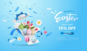 Happy Easter with surprise white gift box with colorful eggs, tulip flowers and blue ribbon. Open gift box isolated. Party, Shopping poster. Easter Sunday design banner.