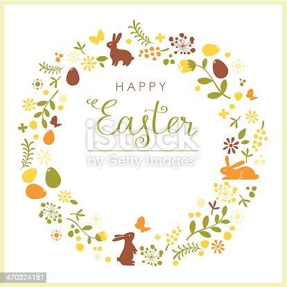 istock Happy Easter wreath card 470324181