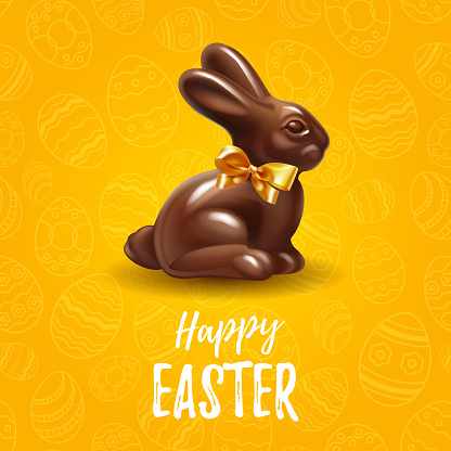 Happy Easter yellow background template with delicious chocolate Easter bunny or rabbit in seamless holiday background. Happy Easter big hunt or sale banner lettering with Colorful Eggs. Vector