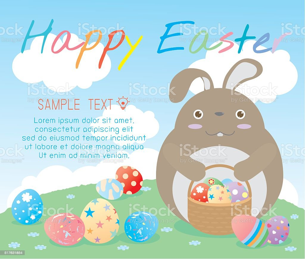 happy eastercute easter rabbits with easter eggs stock vector art