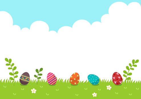 Happy Easter.Easter eggs with nature background