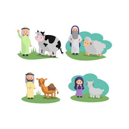 Happy Eid Adha. Celebration of Muslim holiday the sacrifice a camel, sheep, cow and goat Set
