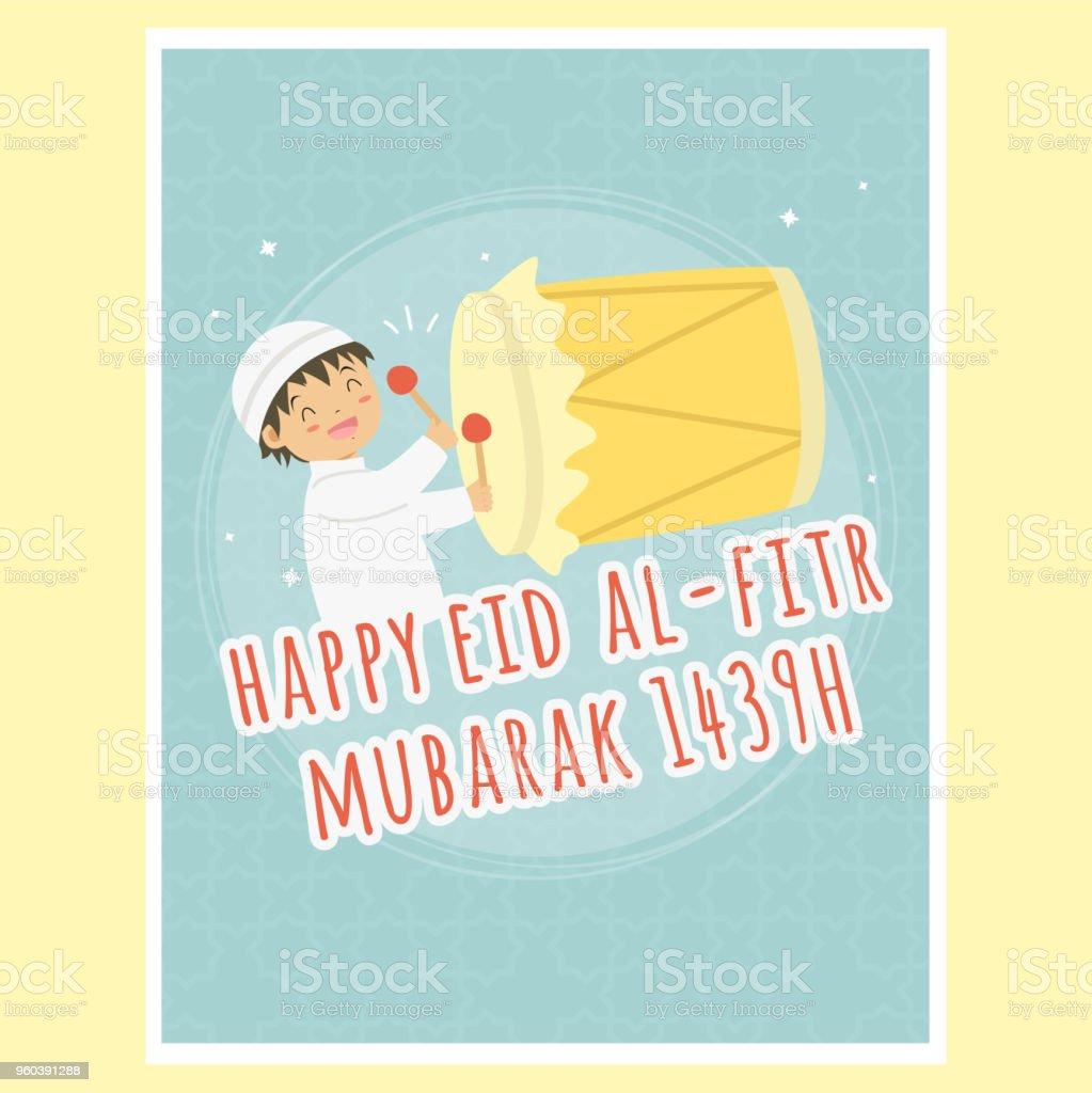 Happy Eid Al-Fitr Greeting Card, Boy Hitting Bedug Vector vector art illustration