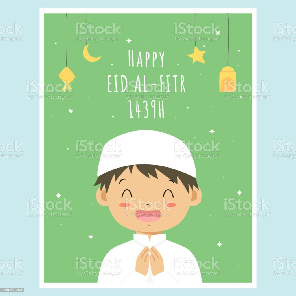 Happy Eid Al-Fitr Greeting Card, Muslim Boy Vector Design vector art illustration