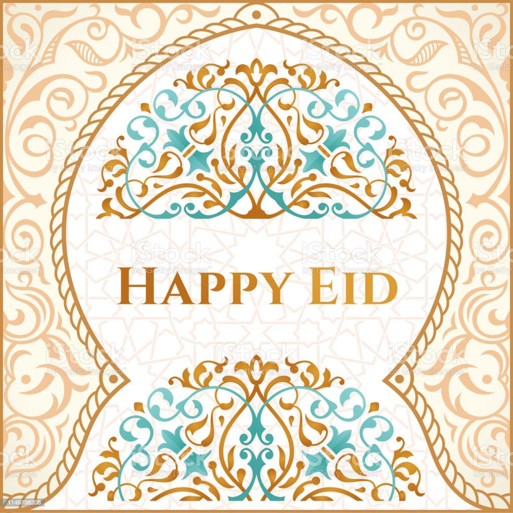 happy eid mubarak greeting design happy holiday words with