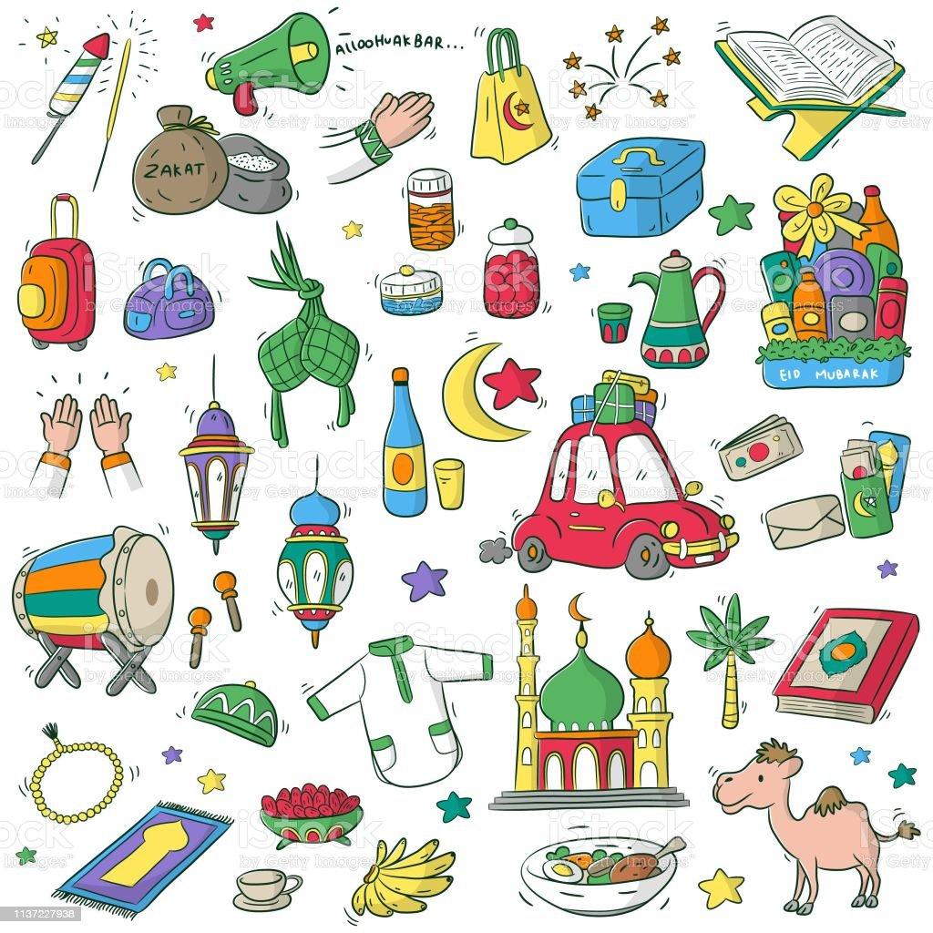 Happy Eid Mubarak Or Idul Fitri Stock Illustration