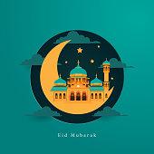 eid al adha greeting concept with mosque , eid mubarak, eid al fitr, islamic culture