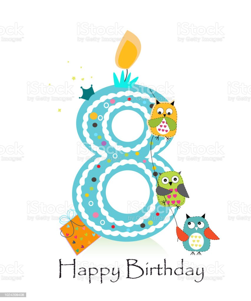 Happy Eighth Birthday With Owls Baby Boy Greeting Card Stock Vector