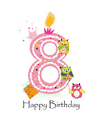 Happy eighth birthday with owls baby girl greeting card