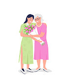 Happy elderly mother with adult daughter flat color vector detailed characters