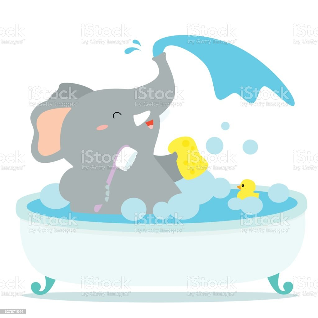 Happy Elephant Cartoon Take A Bath In Tub Vector Royalty Free