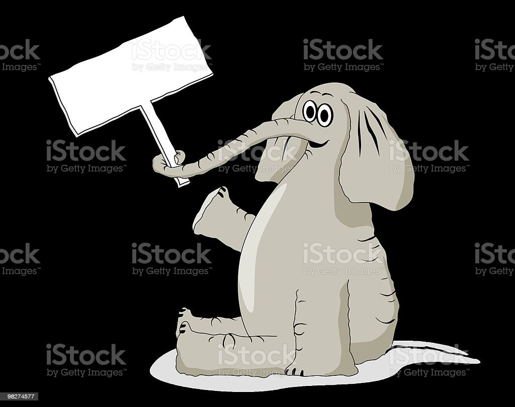 Happy Elephant with Sign royalty-free happy elephant with sign stock vector art & more images of animal
