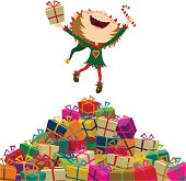 istock Happy elf jumping with christmas presents. Merry xmas!!! 110873038