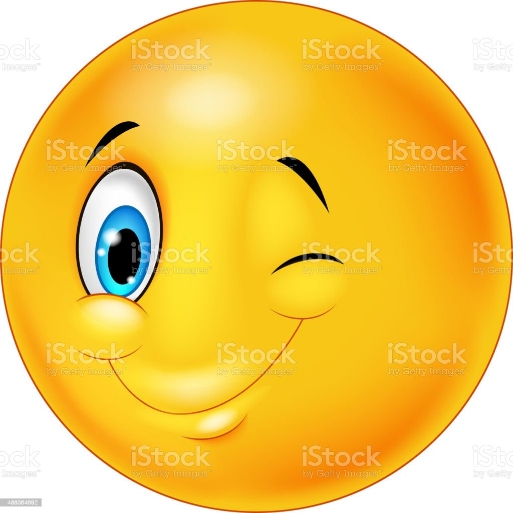 Happy emoticon smiley with eyes blinking vector art illustration