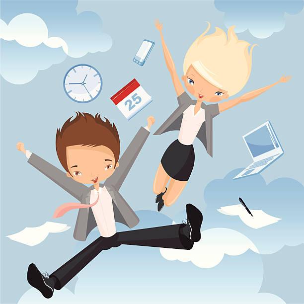 Szczęśliwy pracowników. – artystyczna grafika wektorowa