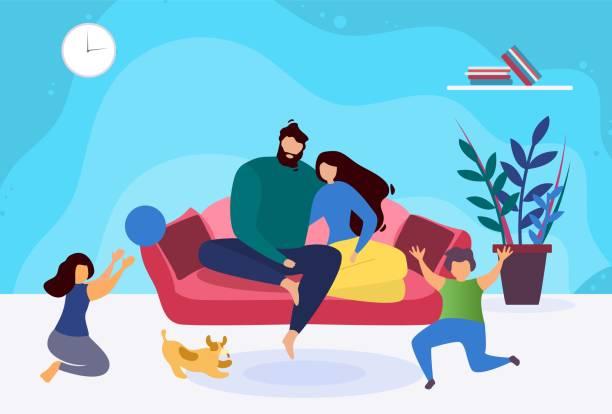 illustrazioni stock, clip art, cartoni animati e icone di tendenza di happy evening family relax cartoon illustration - family home