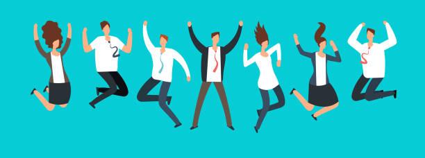 ilustrações de stock, clip art, desenhos animados e ícones de happy excited business people, employees jumping together. successful team work and leadership vector cartoon concept - alegria